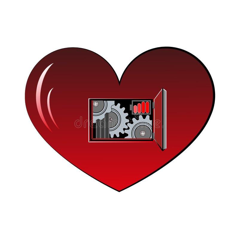 Механическое сердце подпоясало ленты и украшенное с частями металла иллюстрация вектора