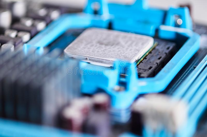 Микропроцессор фотографии макроса установленный на материнскую плату стоковые изображения