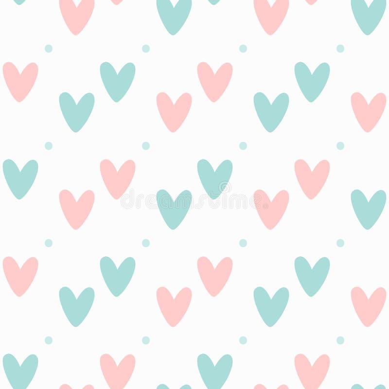 Милая безшовная картина с сердцами и точкой польки Романтичная печать Белый, розовый, голубой иллюстрация вектора