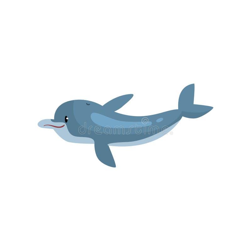Милая иллюстрация вектора морского животного мультфильма дельфина бесплатная иллюстрация
