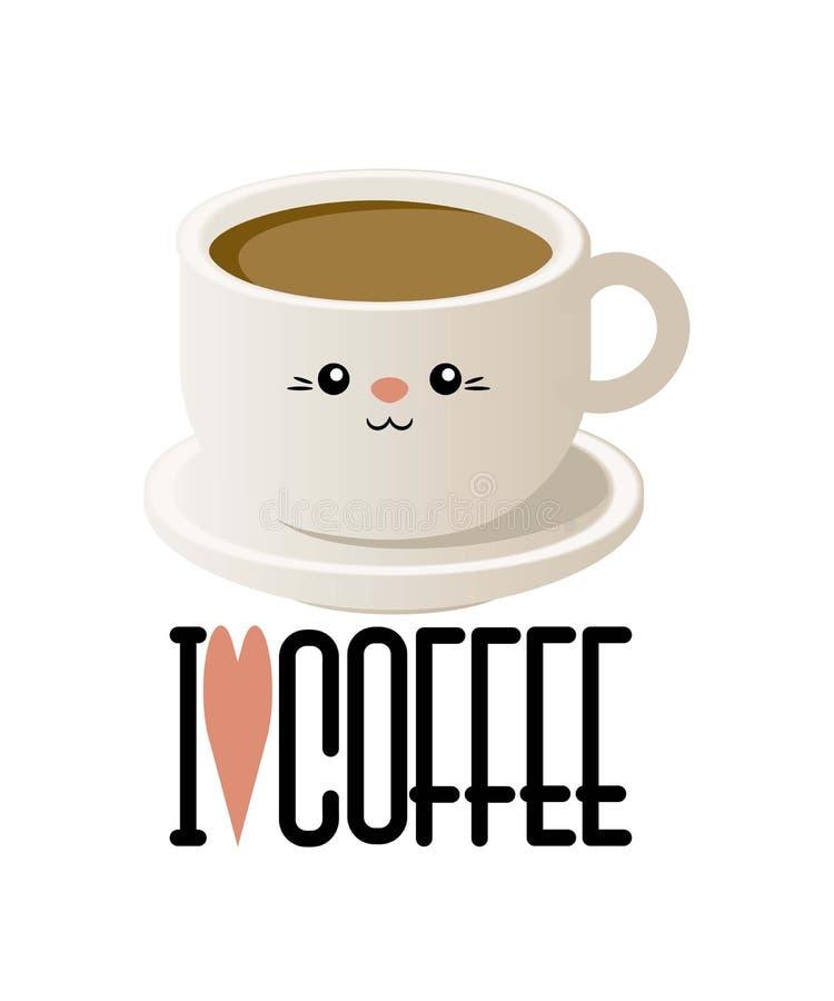 Милая иллюстрация с чашкой кофе в стиле kavai вектор иллюстрация штока