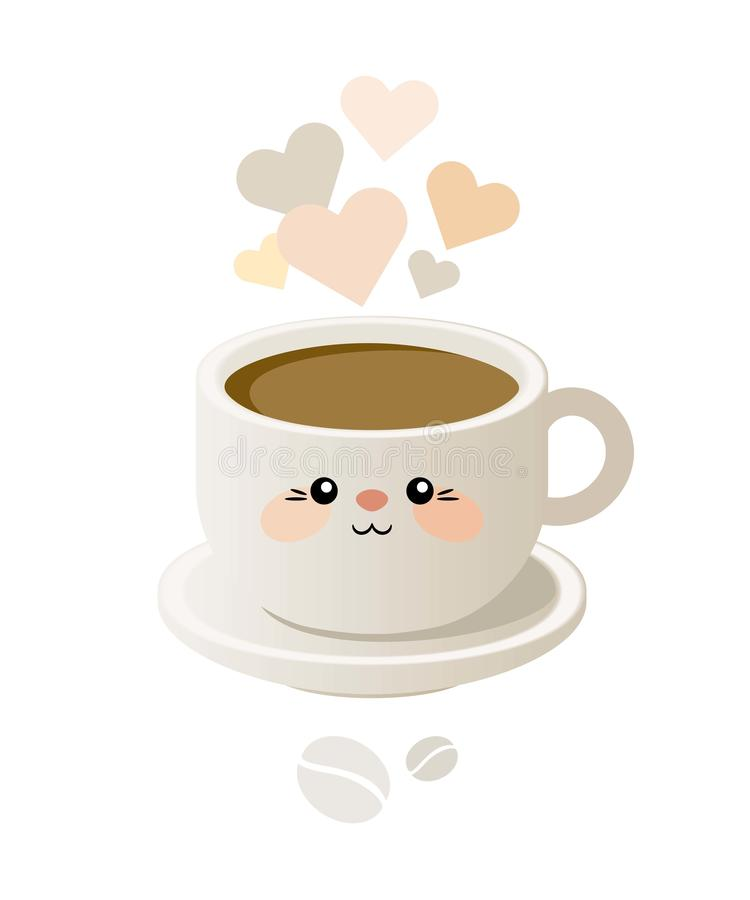 Милая иллюстрация с чашкой кофе в стиле kavai вектор иллюстрация вектора