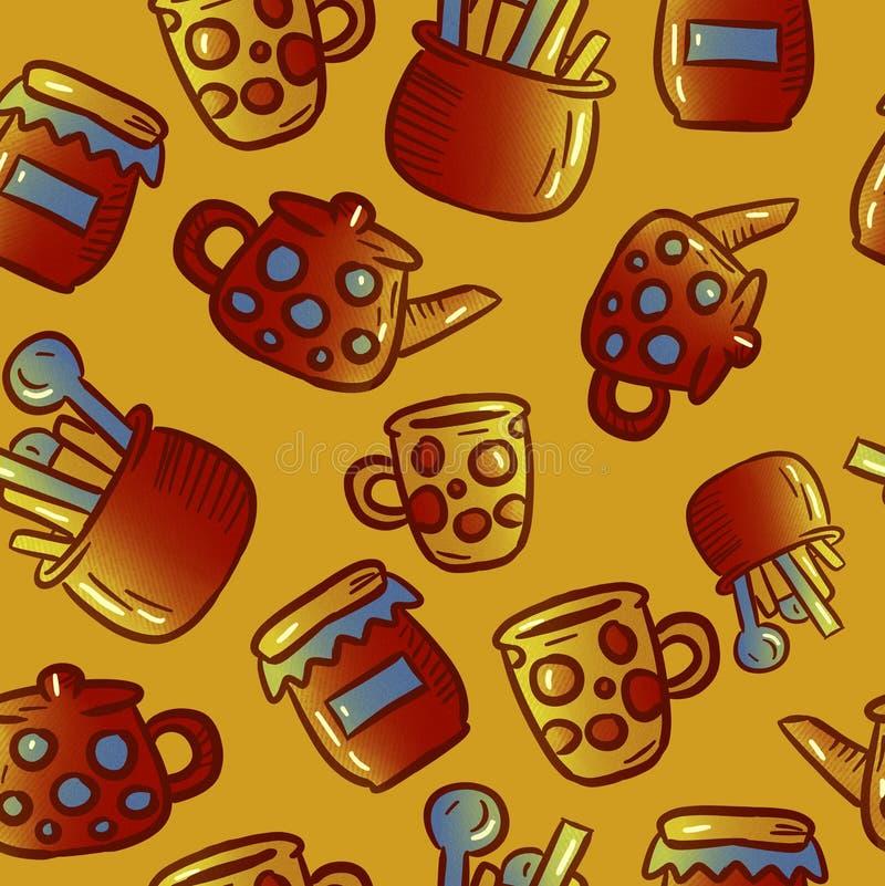 Милая картина иллюстраций kitchenware и утварей женщина чая партии пить ослабляя стоковая фотография