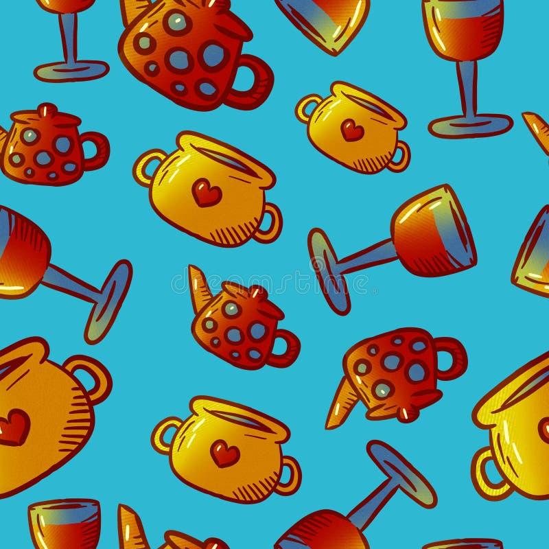 Милая картина иллюстраций kitchenware и утварей Элементы для desi стоковое изображение