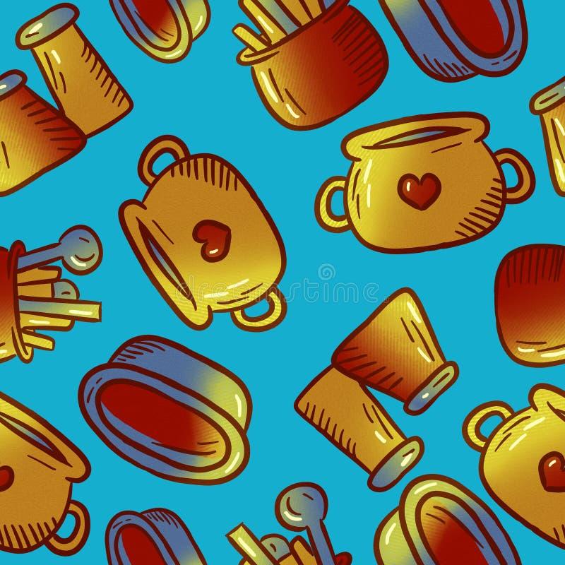 Милая картина иллюстраций kitchenware и утварей Элементы для desig стоковые изображения