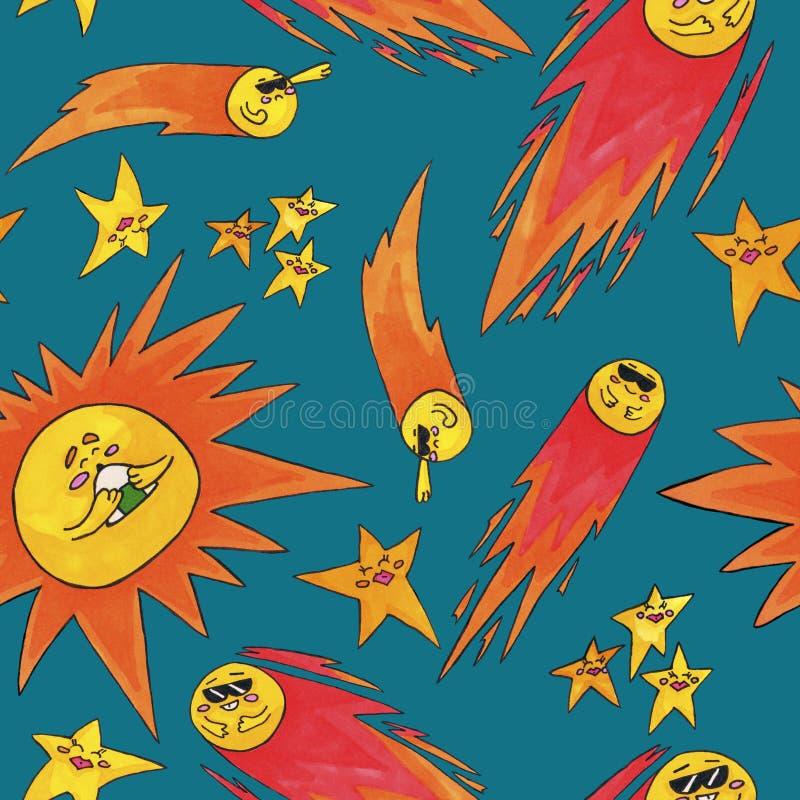 Милая картина космоса для детей Солнце, звезды и комета иллюстрация вектора