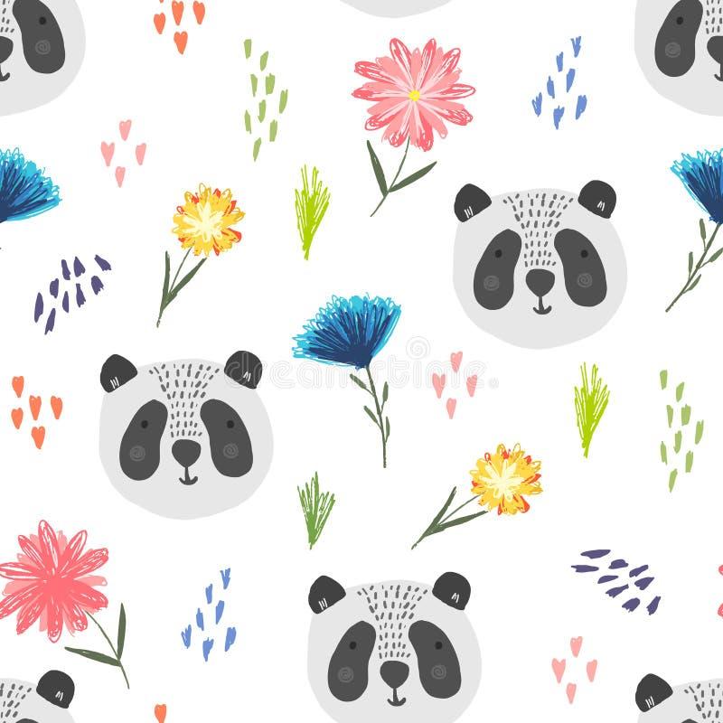 Милая картина мультфильма с пандой, точками и цветками иллюстрация штока