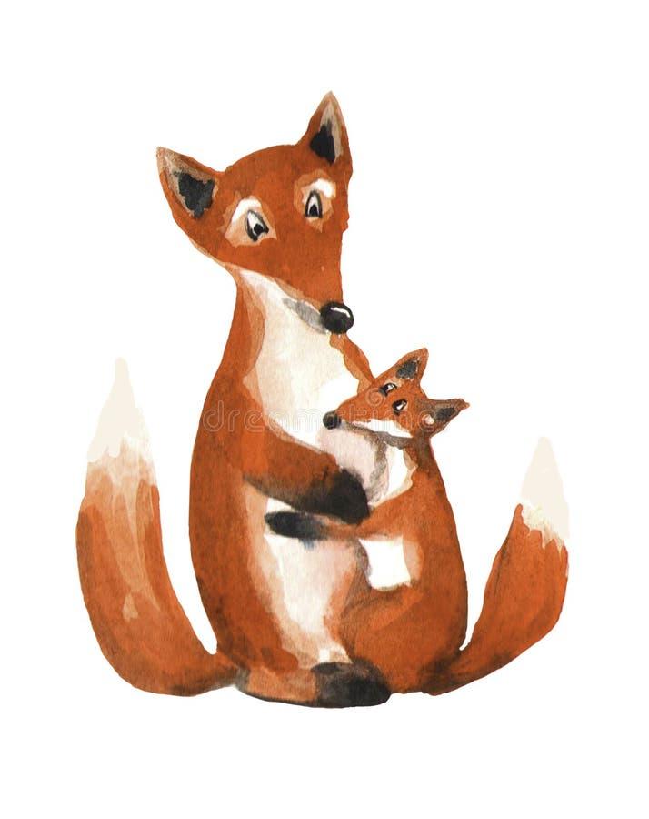 Милая лиса обнимает лису мамы Иллюстрация акварели на белой предпосылке Карточка дня матери иллюстрация вектора
