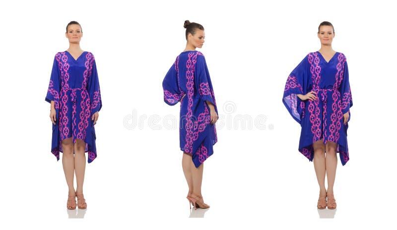 Милая модель нося фиолетовое восточное платье изолированное на белизне стоковое изображение rf