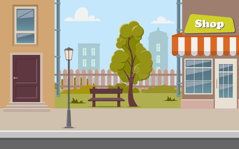 Милая улица с магазином, дерево городка мультфильма, стенд, загородка, уличный фонарь Иллюстрация вектора предпосылки улицы город иллюстрация штока