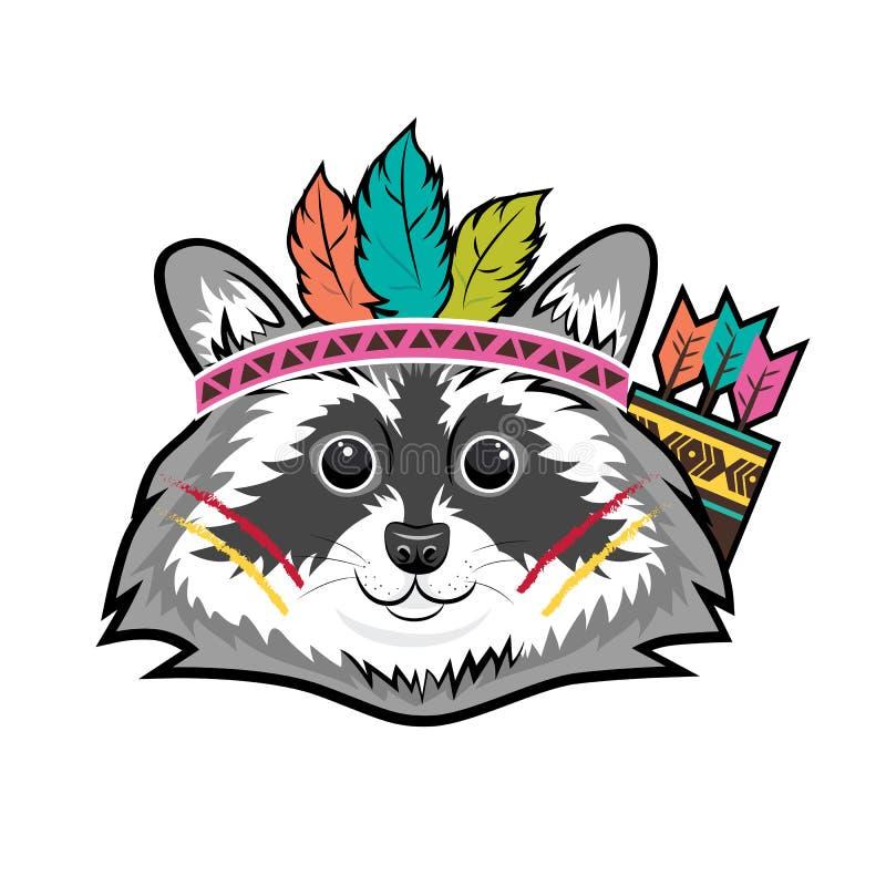 Милая усмехаясь сторона племенного енота Injun Плоская иллюстрация вектора бесплатная иллюстрация