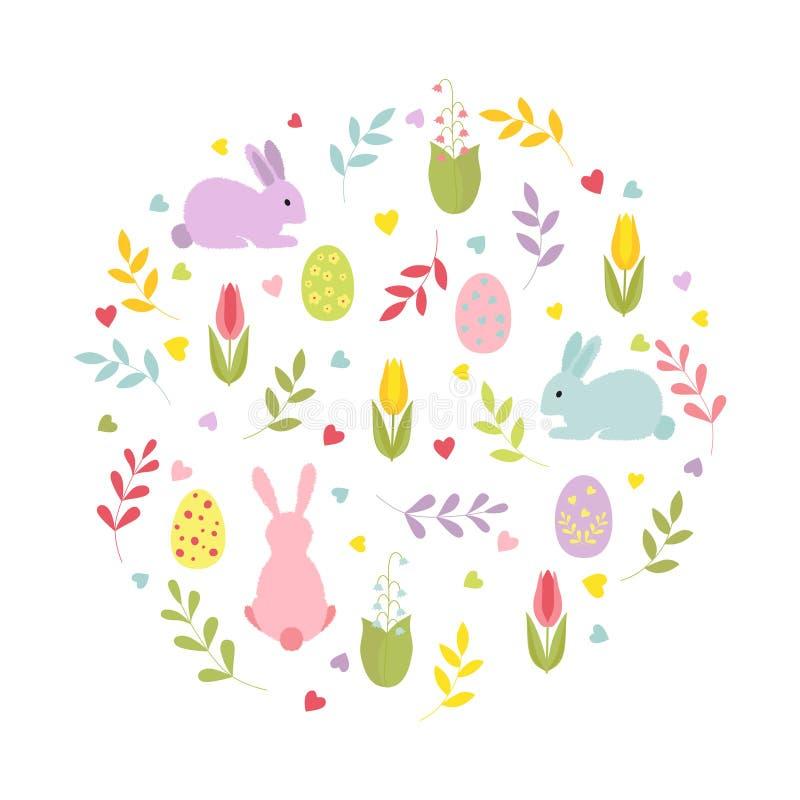 Милые зайчики мультфильма, хворостины, сердца, пасхальные яйца, цветки в круглом составе изолированная иллюстрация руки кнопки на иллюстрация штока