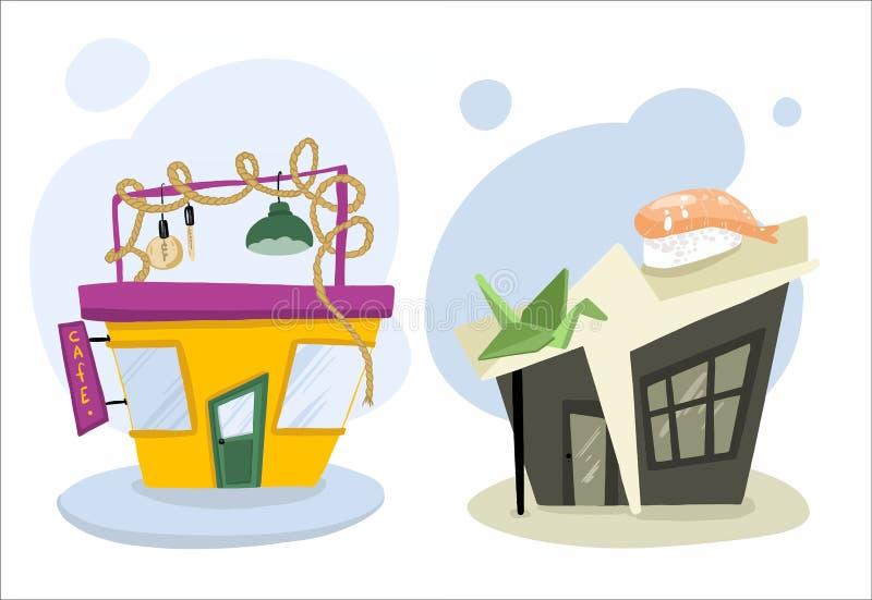Милые и красочные изолированные суши и крены кафа дома вектора иллюстрация вектора