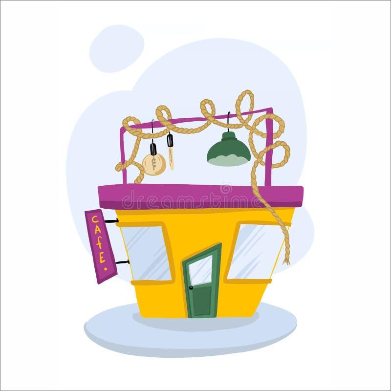 Милые и красочные изолированные суши и крены кафа дома вектора иллюстрация штока