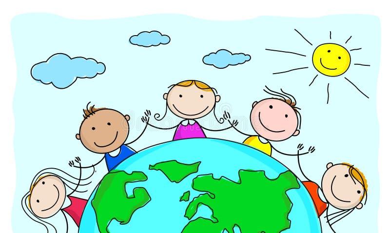 Милые многокультурные головы детей в круге вокруг земли иллюстрация штока