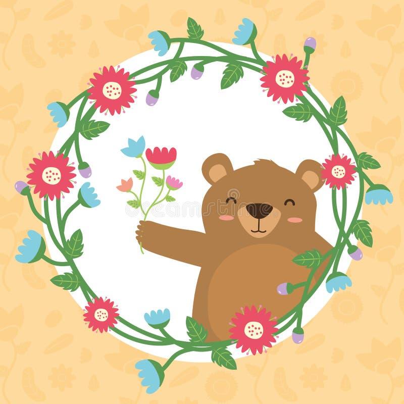 Милый венок медведя иллюстрация вектора