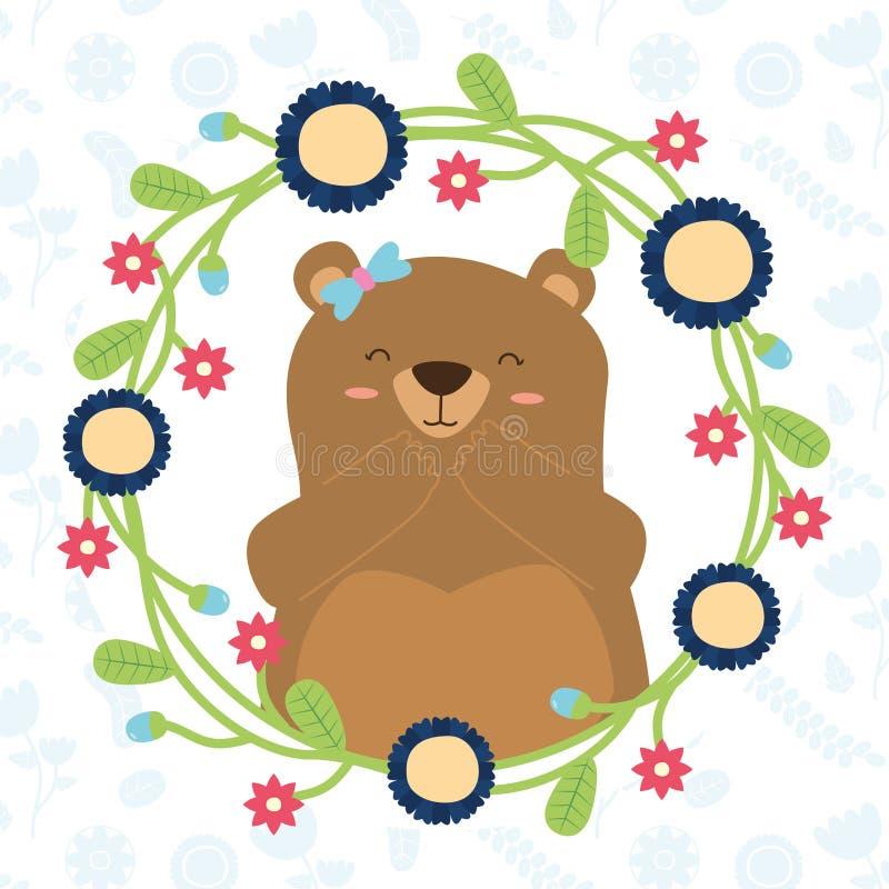 Милый венок медведя бесплатная иллюстрация