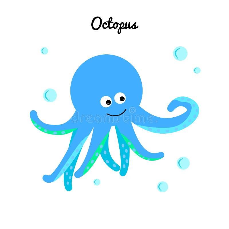 Милый голубой осьминог с водой пузырей Характер мультфильма морской Иллюстрация океана иллюстрация вектора