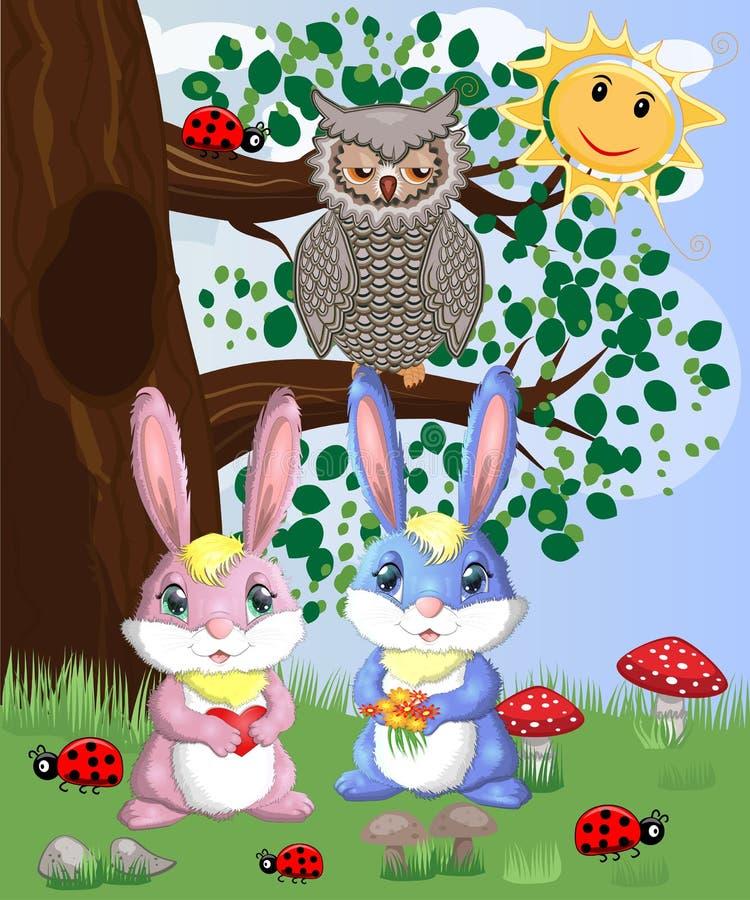 Милый зайчик 2 в glade леса Мальчик и девушка, весна концепции, любовь стоковая фотография rf