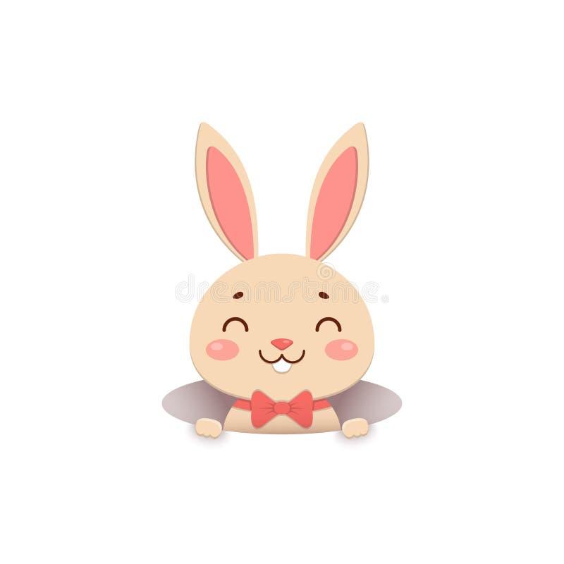 Милый зайчик мультфильма в красной бабочке смотрит из отверстия и усмехаться белизна изолированная предпосылкой иллюстрация штока