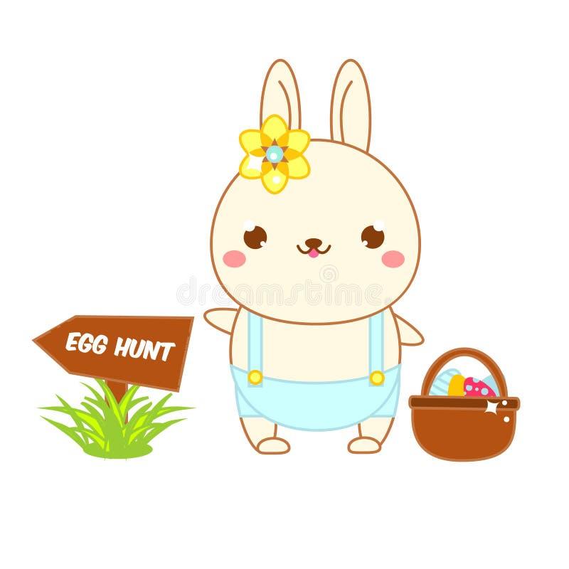 Милый зайчик пасхи с яичками Охота яйца кролика kawaii мультфильма идя Изолированное искусство зажима, стикер для дизайна пасхи иллюстрация штока