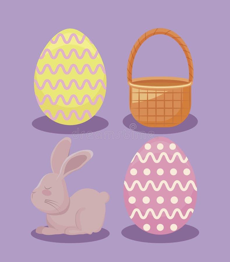 Милый кролик с украшенными яйцами и лозой корзины на день пасхи иллюстрация вектора