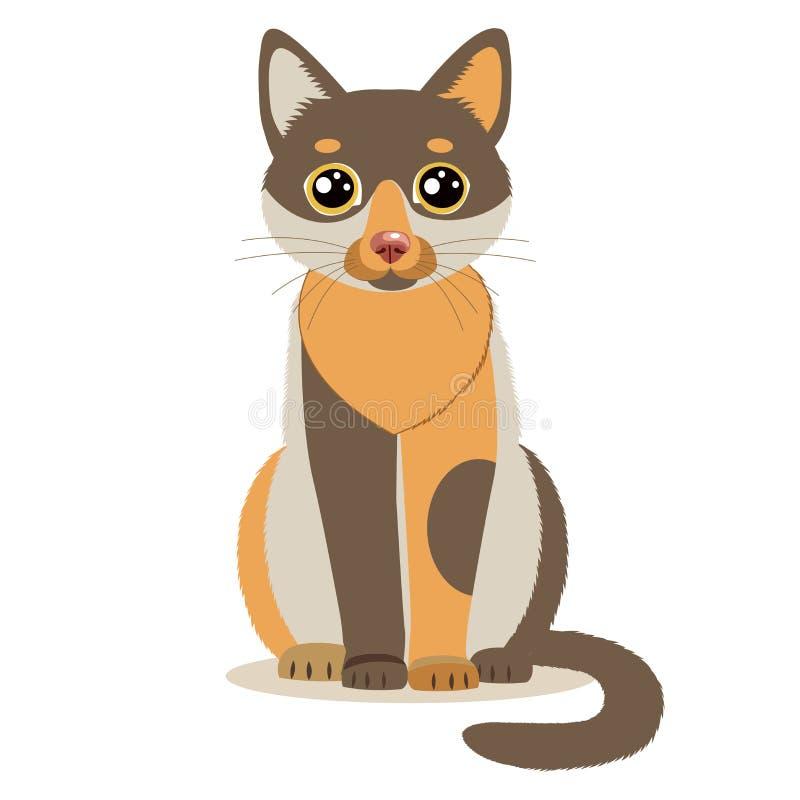 Милый кот мультфильма цвета сидя во фронте белизна изолированная предпосылкой бесплатная иллюстрация