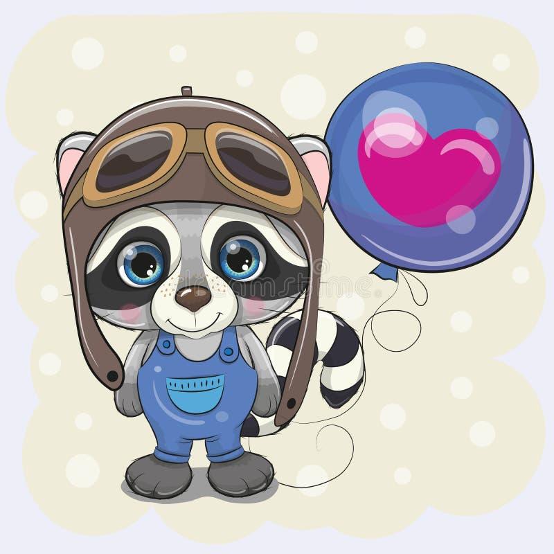 Милый мальчик енота мультфильма с воздушным шаром бесплатная иллюстрация