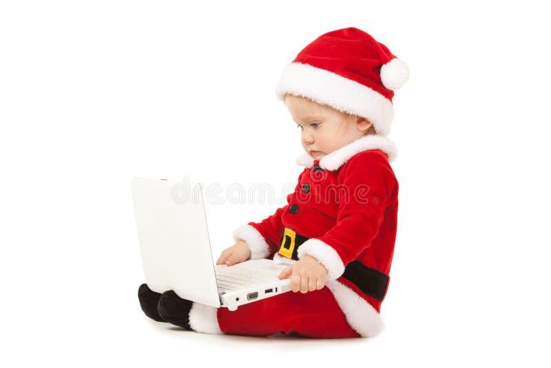 Милый младенец santa на белой предпосылке стоковые изображения rf
