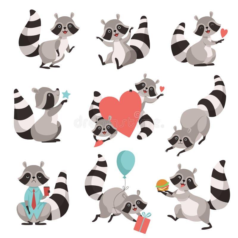Милый набор енота, смешной животный персонаж из мультфильма в различной иллюстрации вектора ситуаций иллюстрация штока