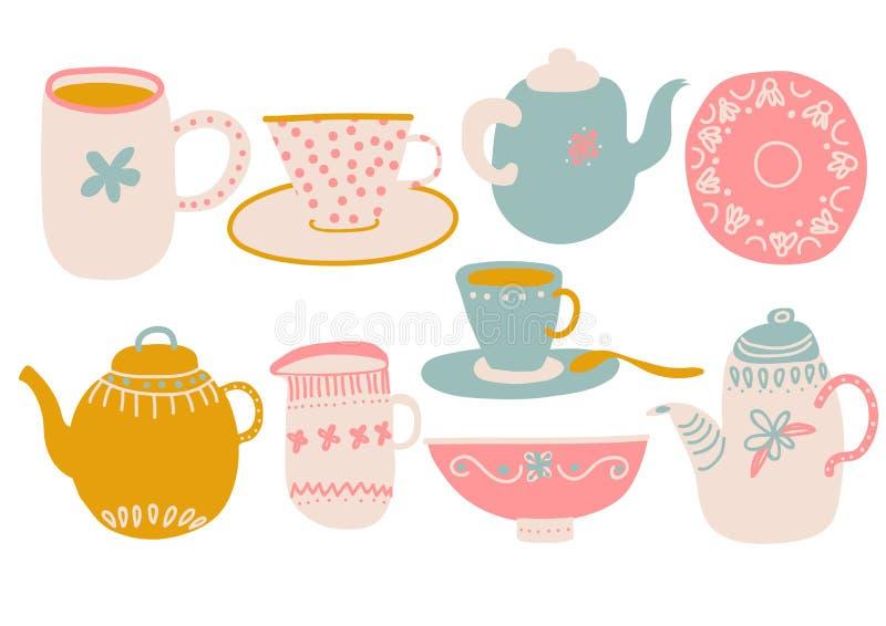 Милый набор кофе или чая, элементы дизайна с чайником, чашка, поддонник, молоко кувшина и иллюстрация вектора салфетки иллюстрация вектора