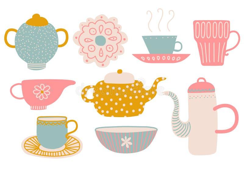 Милый набор чая, элементы чаепития с чайником, чашка, поддонник, молоко кувшина и иллюстрация вектора салфетки иллюстрация штока