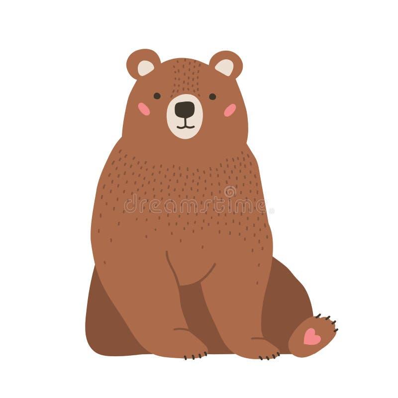 Милый прелестный маленький бурый медведь Животные смешного прекрасного леса плотоядные изолированные на белой предпосылке Забавля бесплатная иллюстрация