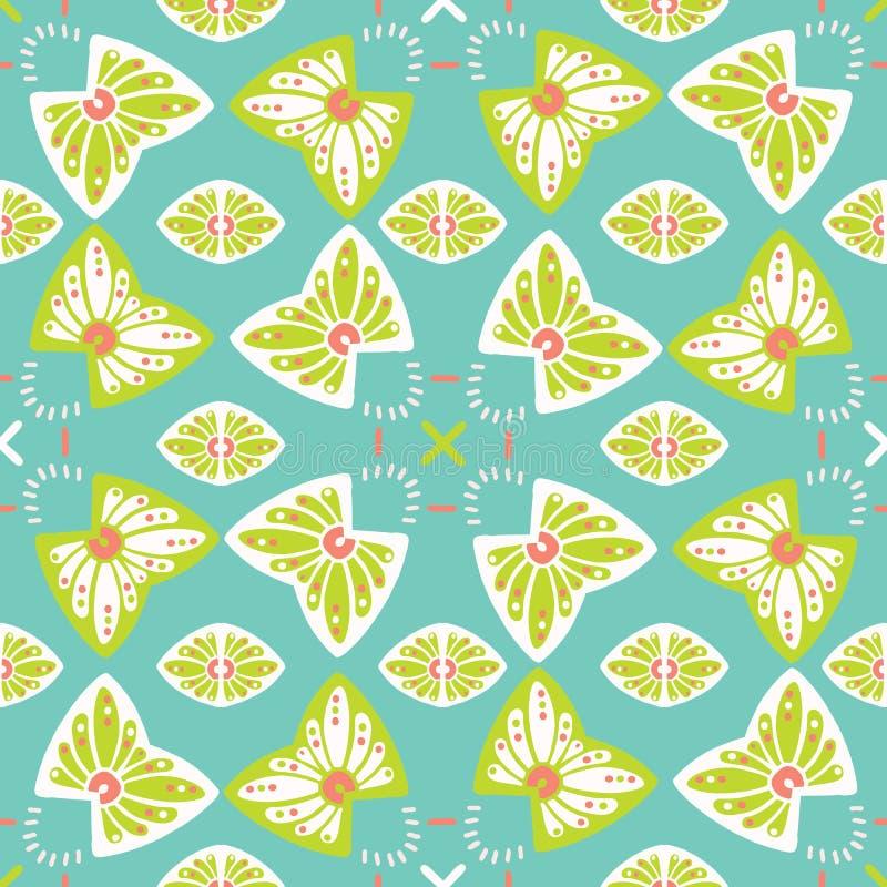 Милый стилизованный цветочный узор Безшовный повторять Иллюстрация вектора бабочки руки вычерченная иллюстрация штока