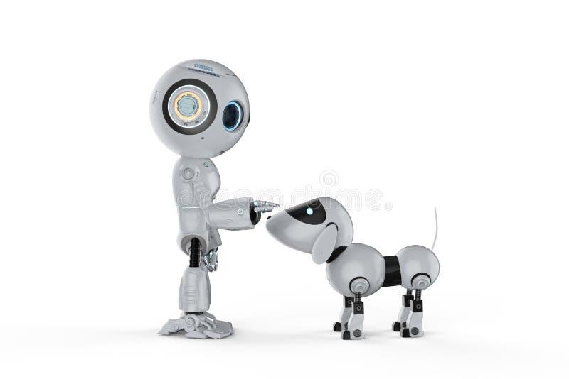 Милый робот с собакой иллюстрация вектора