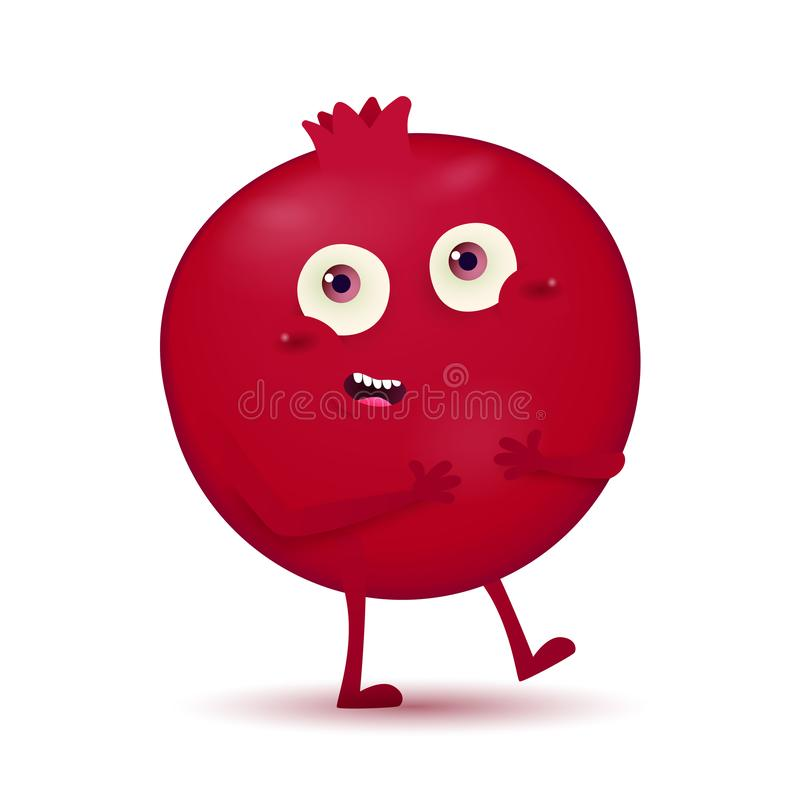 Милое маленькое темное - красный характер плода гранатового дерева иллюстрация штока