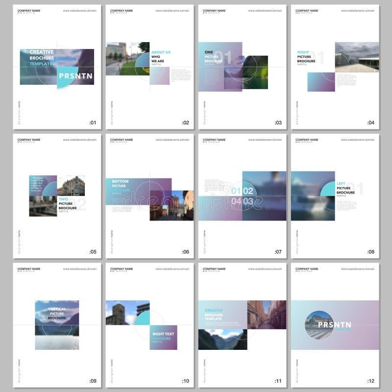 Минимальные шаблоны брошюры с красочными прямоугольниками градиента и квадратными формами на белой предпосылке Дизайн крышек иллюстрация вектора