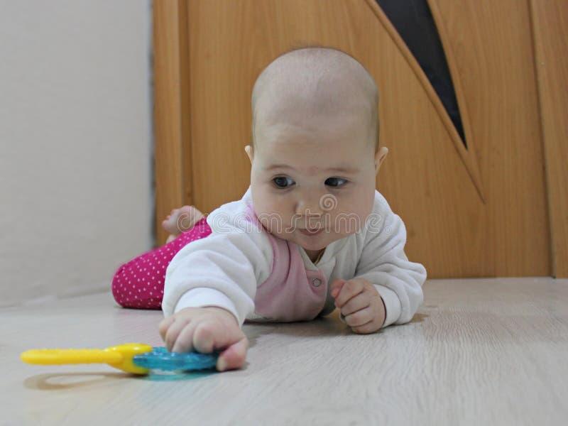 Младенец вползая после игрушки стоковое изображение