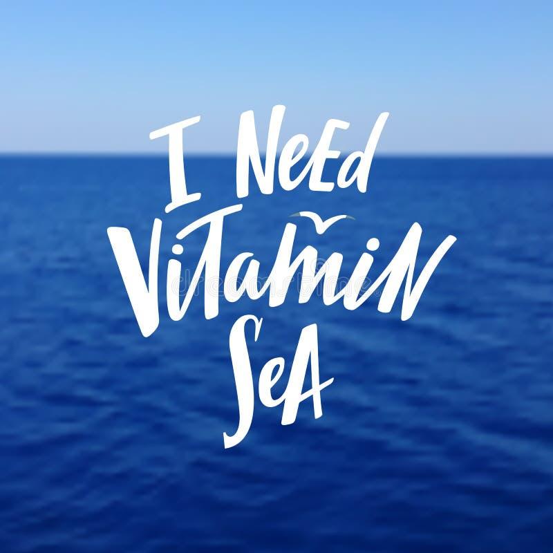 Мне нужна фраза моря витамина График руки вычерченный на Seascapes Вектор текстурировал современную предпосылку иллюстрация вектора