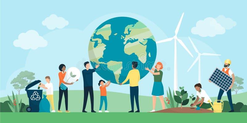 Многонациональная группа людей сотрудничая для охраны окружающей среды иллюстрация вектора