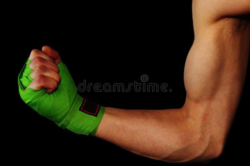 Мужской показывая бицепс с ремнями бокса стоковое фото