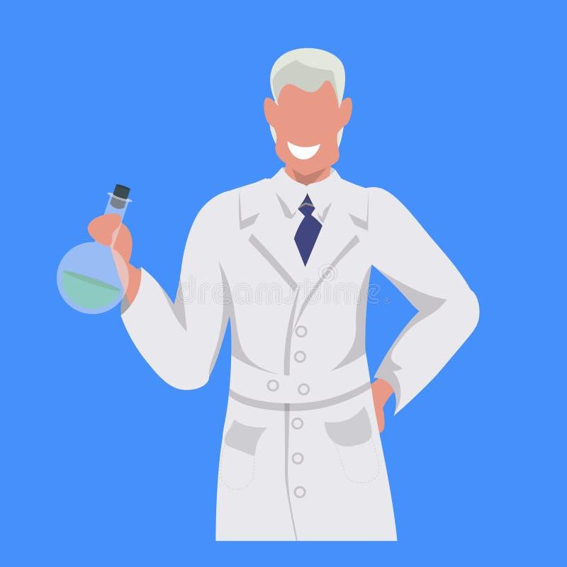 Мужской техник лаборатории человека пробирки удерживания ученого в белом равномерном занятии медицинского работника профессиональ иллюстрация вектора