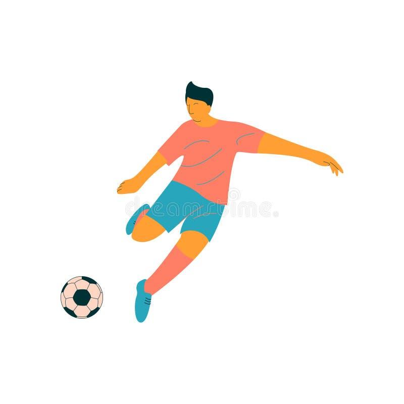 Мужской футболист пиная шарик, характер футболиста в иллюстрации вектора спорт равномерной бесплатная иллюстрация
