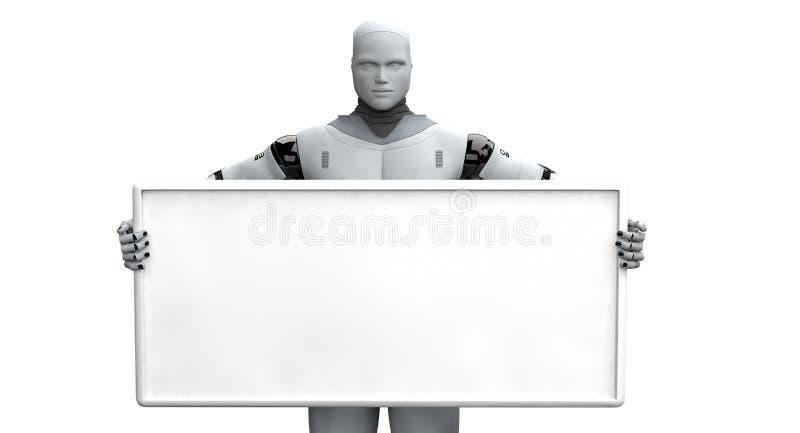Мужской робот держа пустой знак иллюстрация вектора