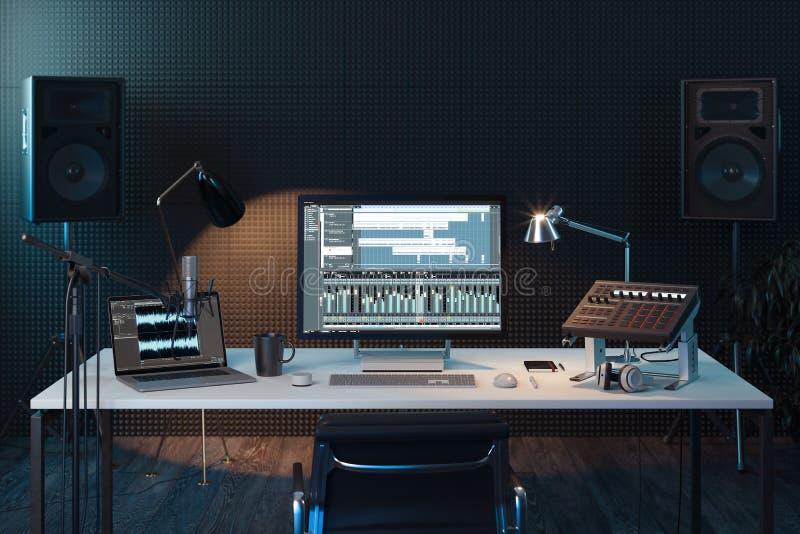 Музыкальная станция компьютера студии тональнозвуковой пульт смешивая профессиональную студию tv перевод 3d стоковая фотография