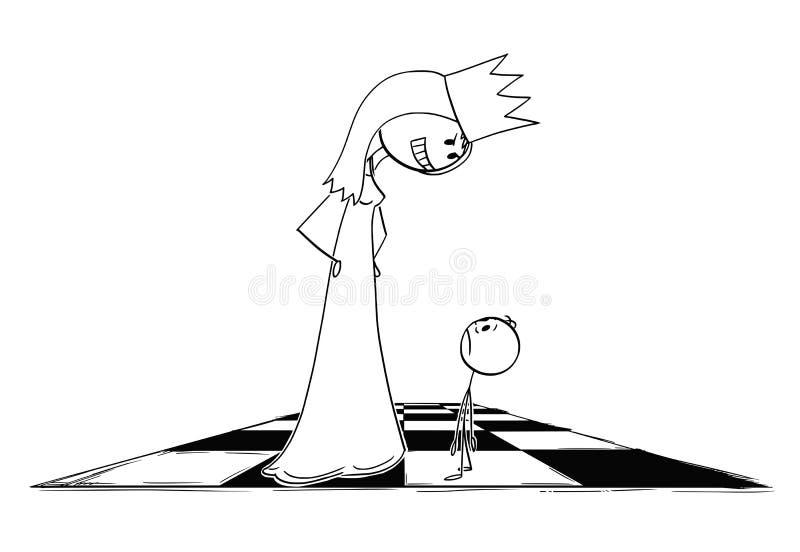 Мультфильм большого угрожающего ферзя шахмат смотря небольшую пешку бесплатная иллюстрация
