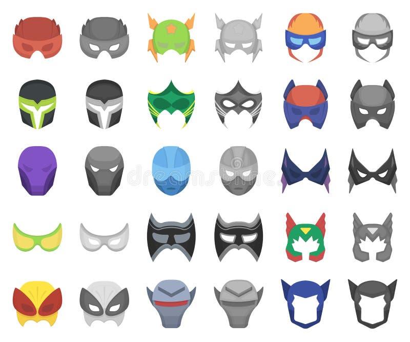 Мультфильм маски масленицы, значки monochrom в установленном собрании для дизайна Маска на сети запаса символа вектора глаз и сто бесплатная иллюстрация