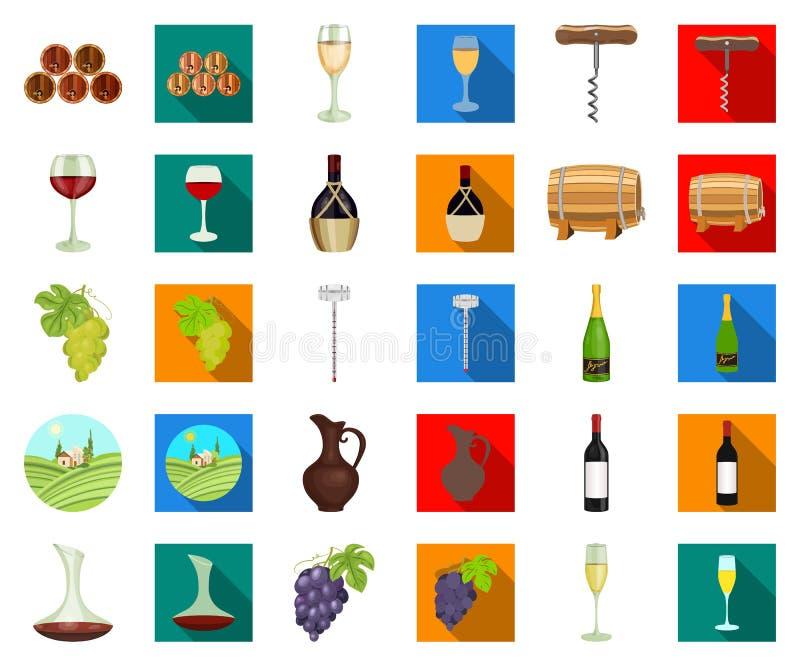 Мультфильм продуктов вина, плоские значки в установленном собрании для дизайна Оборудование и продукция вина vector сеть запаса с иллюстрация вектора