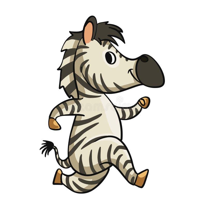 Мультфильм смешной зебры идущий иллюстрация вектора