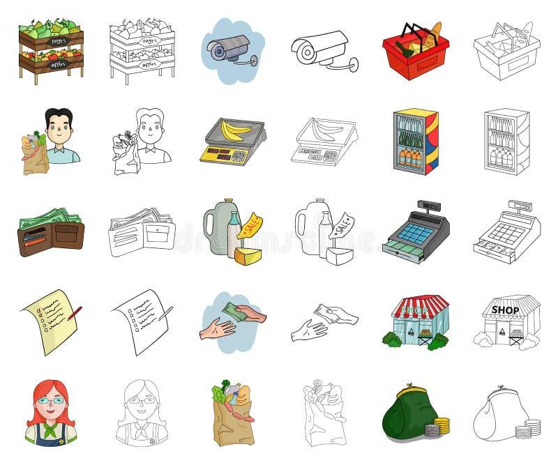 Мультфильм супермаркета и оборудования, значки плана в установленном собрании для дизайна Приобретение запаса символа вектора про бесплатная иллюстрация